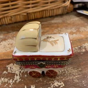 Baby carriage ceramic trinket box